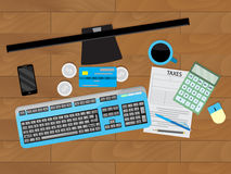 Jobs on table, finance and taxes. Workplace with monitor, analysis financial report and paperwork. Vector illustration Stock Images