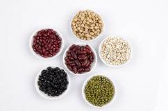 Jobs tears, Soy beans, Red beans, black beans, and green beans Stock Photography