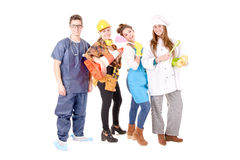 Jobs. Teenagers with future jobs isolated in white stock photography