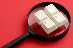 Jobs White Keyboard Keys Magnifier Stock Photos