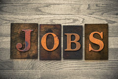 Jobs Wooden Letterpress Theme Royalty Free Stock Images