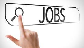 Jobs written in search bar on virtual screen stock photography
