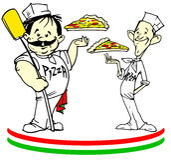 Jobserie - Pizzaioli mit Pizza Lizenzfreie Stockfotos