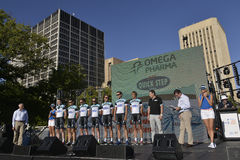 Jobstepp-Fachmann-Radsportteam Omegas Pharma schnelles Stockbilder