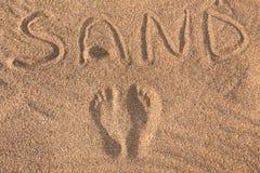 Jobstepps auf dem Sand Stockfotografie