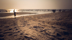 Jobstepps im Sand, der zum Horizont ausdehnt Lizenzfreies Stockfoto