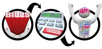 Jobstepps zu den Finanzfreiheits-Wechseln verringern Schuld Stockfoto