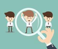Jobsuche und Konzept der menschlichen Ressource, Lupe, die Leute sucht Lizenzfreies Stockbild
