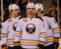 Jochen Hecht, Marcus Foligno and Mike Weber, Buffalo Sabres Royalty Free Stock Image