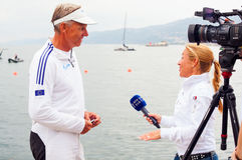 Jochen Schuman que se entrevista con Fotos de archivo
