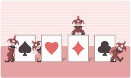 Jocker играя в азартные игры искусства карточки - вектора Стоковые Изображения