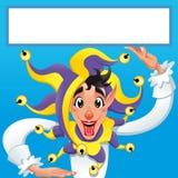 Jocker engraçado que sorri com quadro branco Fotos de Stock