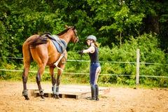 Jockey νέα γυναίκα που παίρνει το άλογο έτοιμο για το γύρο Στοκ Εικόνες
