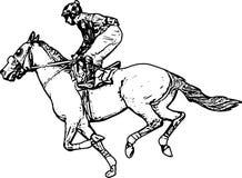 Jockey οδηγώντας σχέδιο αλόγων αγώνων απεικόνιση αποθεμάτων