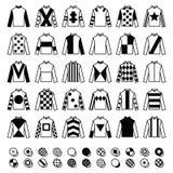 Jockey ομοιόμορφο - σακάκια, μετάξια και καπέλα, εικονίδια ιππασίας καθορισμένα Στοκ Εικόνες