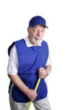 jockey σκουπών ανώτερος εργαζόμενος Στοκ Φωτογραφίες