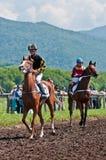 Jockey στο befor αλόγων η έναρξη Στοκ φωτογραφία με δικαίωμα ελεύθερης χρήσης