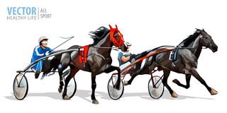 Free Jockey And Horse. Two Racing Horses Competing With Each Other. Race In Harness With A Sulky Or Racing Bike. Vector Royalty Free Stock Image - 96680136