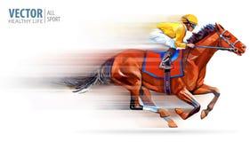 Jockey auf laufendem Pferd meister hippodrome racetrack Reiter auf einem Pferd Auch im corel abgehobenen Betrag derby drehzahl ve vektor abbildung
