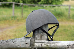 Jockey black helmet Stock Photography