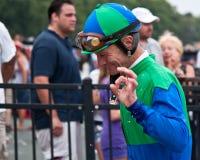 Jockey Calvin Borel après victoire images stock