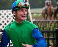 Jockey Calvin Borel na Overwinning royalty-vrije stock fotografie