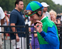 Jockey Calvin Borel na Overwinning stock afbeeldingen
