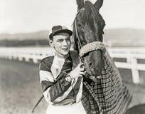 Jockey and champion royalty free stock photo
