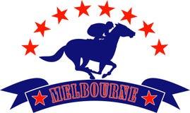 Jockey de cheval emballant Melbourne Photographie stock libre de droits