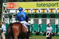 Jockey de cheval près du réseau commençant Photo libre de droits
