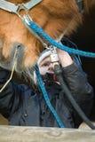 Jockey de garçon s'inquiétant de leur cheval Image libre de droits