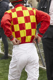Jockey detail after the race. Hippodrome background. Racehorse. Royalty Free Stock Images