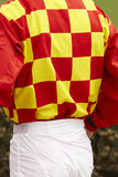 Jockey detail after the race. Hippodrome background. Racehorse. Stock Photos