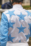 Jockey detail after the race. Hippodrome background. Racehorse. Stock Images