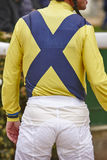 Jockey detail before the race. Hippodrome background. Racehorse. Royalty Free Stock Image