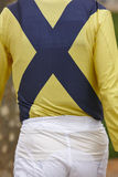 Jockey detail before the race. Hippodrome background. Racehorse. Stock Photo