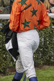 Jockey detail after the race. Hippodrome background. Racehorse. Stock Photo