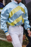 Jockey detail after the race. Hippodrome background. Racehorse. Royalty Free Stock Photos
