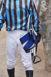 Jockey detail after the race. Hippodrome background. Racehorse. Competition Stock Image