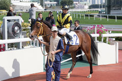 Jockey Dylan Mo Hin-tung first win in Hong Kong Stock Photography