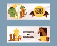 Jockey equipment store banner. Champion in horse racing competition. Clothing for steeplechase, jokey pants, gloves stock illustration