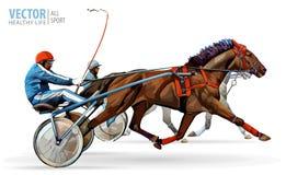 Jockey et cheval Deux chevaux d'emballage concurrençant les uns avec les autres Emballez dans le harnais avec un vélo boudeur ou  illustration stock