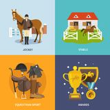 Jockey Flat Set. Jockey design concept set with stable equestrian sport awards flat icons isolated vector illustration Royalty Free Stock Photo