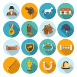 Jockey Flat Set. Jockey flat icons set with trophy rider derby champion isolated vector illustration Royalty Free Stock Photos