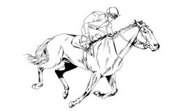 Jockey on a galloping horse painted with ink by hand. On a white background Stock Images