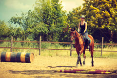 Jockey girl doing horse riding on countryside meadow. Taking care of animals, horsemanship, western competitions concept. Jockey girl doing horse riding on royalty free stock photos