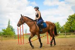 Jockey girl doing horse riding on countryside meadow Stock Photos