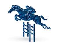 Jockey het berijden paard, slang het rennen vector illustratie