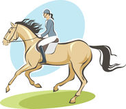 Jockey on a horse. Contour drawing of female  jockey on a horse Royalty Free Stock Photo