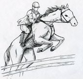 Jockey and horse. Jumping over fence during training. Ink drawn sketch Royalty Free Stock Photos